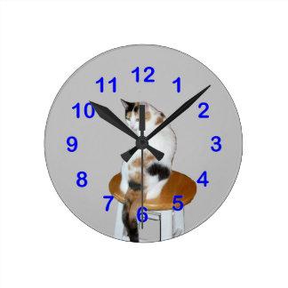 Sitting Calico Wall Clock