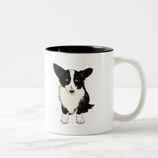 Sitting Cardigan Welsh Corgi Illustration Two-Tone Coffee Mug
