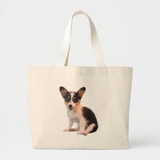 Sitting Cardigan Welsh Corgi Puppy Canvas Bags