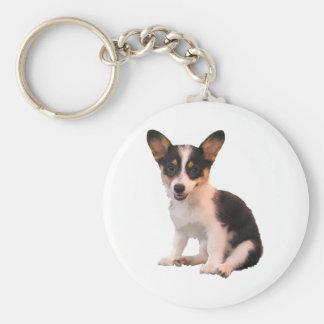 Sitting Cardigan Welsh Corgi Puppy Basic Round Button Keychain