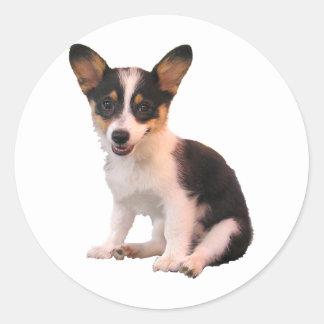 Sitting Cardigan Welsh Corgi Puppy Classic Round Sticker