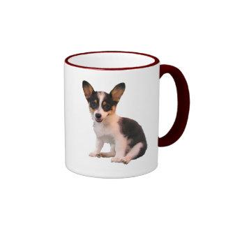 Sitting Cardigan Welsh Corgi Puppy Ringer Coffee Mug