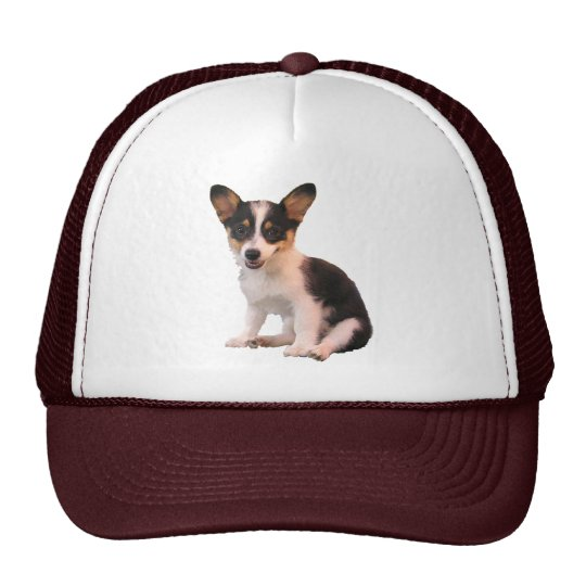 Sitting Cardigan Welsh Corgi Puppy Trucker Hat