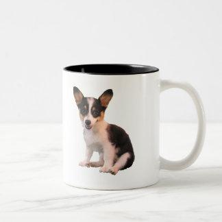 Sitting Cardigan Welsh Corgi Puppy Two-Tone Coffee Mug