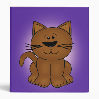 Sitting Cartoon Cat on A Purple Background Binder