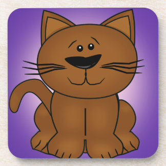 Sitting Cartoon Cat on A Purple Background Drink Coaster