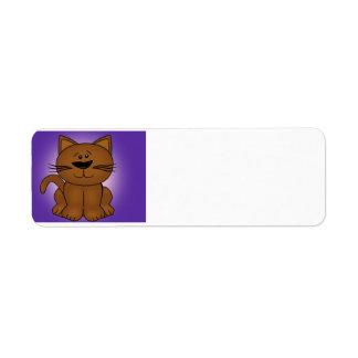 Sitting Cartoon Cat on A Purple Background Label