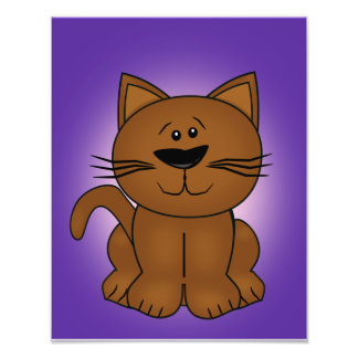 Sitting Cartoon Cat on A Purple Background Photo Print
