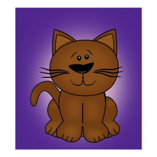 Sitting Cartoon Cat on A Purple Background Poster