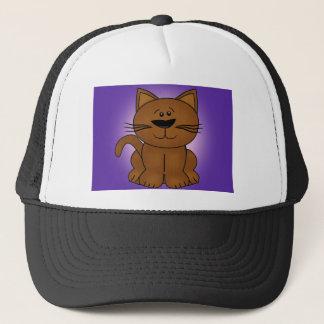 Sitting Cartoon Cat on A Purple Background Trucker Hat