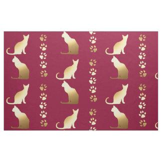 Sitting Cats Silhouette & Paw Prints ~ editable bg Fabric