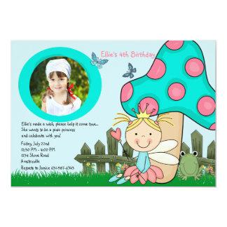 Sitting Fairy Princess Photo Birthday Invitation