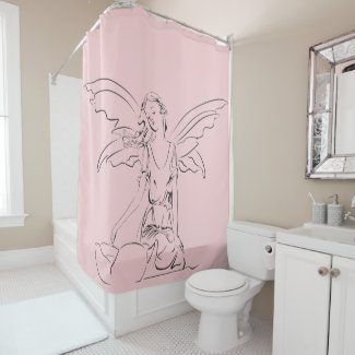 Sitting Fairy with Wings Shower Curtain