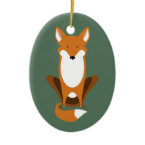 Sitting Fox Ceramic Ornament