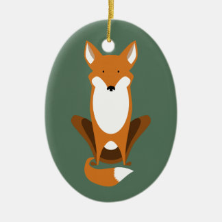 Sitting Fox Double-Sided Oval Ceramic Christmas Ornament