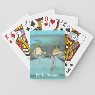 Sitting Frogs Playing Cards