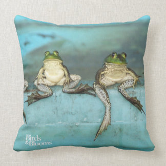Sitting Frogs Throw Pillow