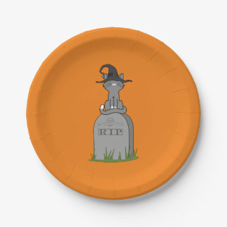 Sitting Gray Cat on RIP Grave Stone 7 Inch Paper Plate