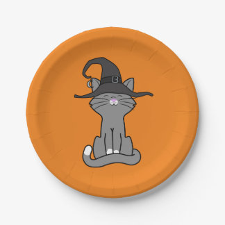 Sitting Gray Cat with Halloween Witch Hat 7 Inch Paper Plate