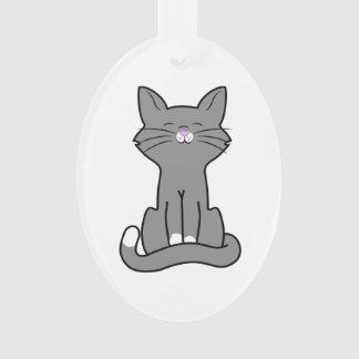 Sitting Gray Kitten Ornament