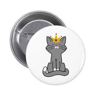 Sitting Gray Kitten with Gold Crown 2 Inch Round Button