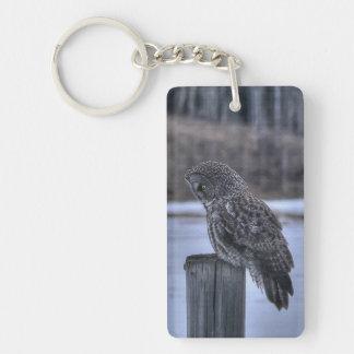 Sitting Great Gray Owl - Fence Post Wildlife Photo Keychain