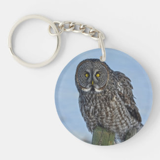 Sitting Great Gray Owl Wildlife Photo Portrait I Keychain