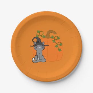 Sitting Grey Cat with Halloween Pumpkin 7 Inch Paper Plate