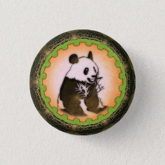 Sitting Happy Panda in Orange Pinback Button