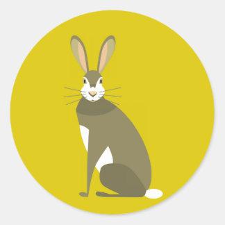 Sitting Hare Round Sticker