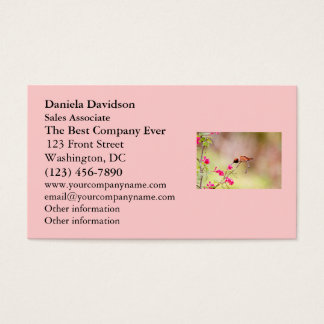Sitting Hummingbird Sipping Flower Nectar Business Card