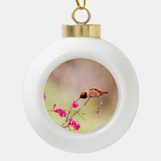 Sitting Hummingbird Sipping Flower Nectar Ceramic Ball Christmas Ornament