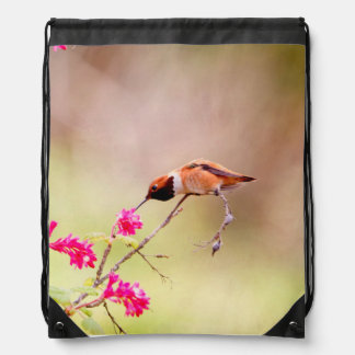 Sitting Hummingbird Sipping Flower Nectar Cinch Bags