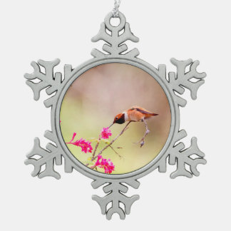 Sitting Hummingbird Sipping Flower Nectar Snowflake Pewter Christmas Ornament