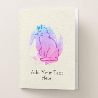 Sitting Kitty - Beautiful Watercolor Blend Custom Pocket Folder