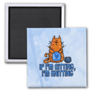 sitting knitting 2 inch square magnet