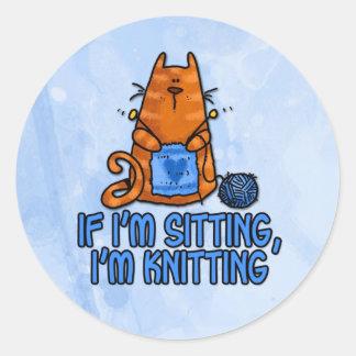sitting knitting classic round sticker