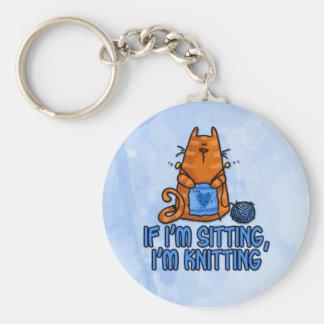 sitting knitting keychain