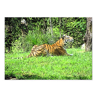 Sitting Majestic Tiger Painting Card