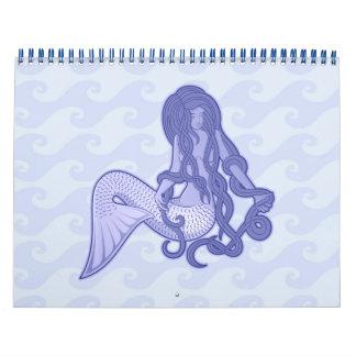 Sitting Mermaid Blue Calendar