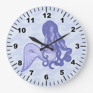 Sitting Mermaid Blue Large Clock
