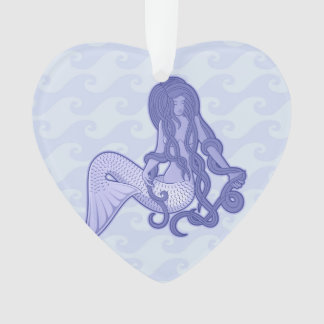 Sitting Mermaid Blue Ornament