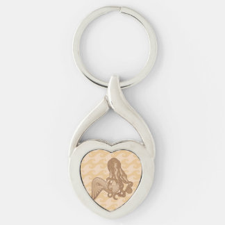 Sitting Mermaid Silver-Colored Heart-Shaped Metal Keychain