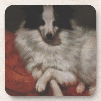 Sitting on Cushions Dog by Gustave Courbet Beverage Coaster