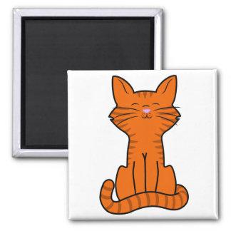 Sitting Orange Kitten 2 Inch Square Magnet