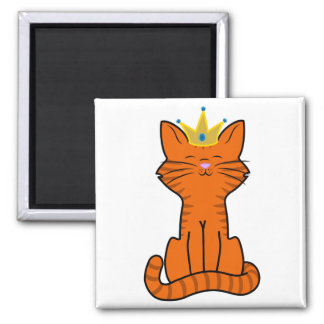 Sitting Orange Kitten with Gold Crown 2 Inch Square Magnet