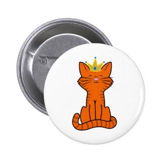 Sitting Orange Kitten with Gold Crown 2 Inch Round Button