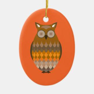 Sitting Owl Ceramic Ornament
