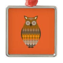 Sitting Owl Metal Ornament