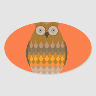 Sitting Owl Oval Sticker